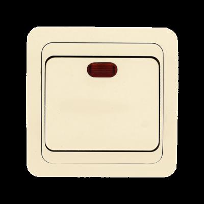 Лондон Выключатель 1-клавишный с индикатором 10А бежевый EKF PROxima; EEV10-121-20