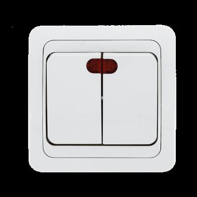 Лондон Выключатель 2-клавишный с индикатором 10А белый EKF PROxima; EEV10-123-10