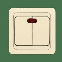 Лондон Выключатель 2-клавишный с индикатором 10А бежевый EKF PROxima