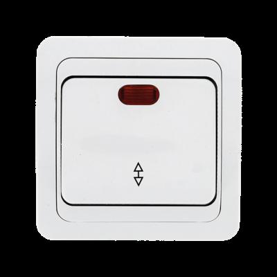 Лондон Выключатель проходной 1-клавишный с индикатором 10А белый EKF PROxima; EEV10-125-10