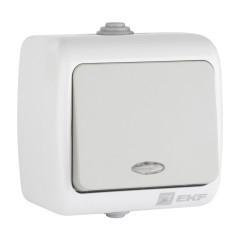 Мурманск Выключатель 1 -клавишный с индикатором 10А IP54 серый EKF