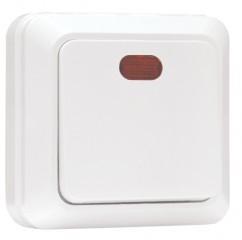 Рим Выключатель 1-клавишный с индикатором 10А белый EKF
