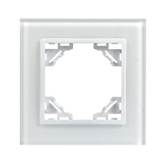 Минск Рамка 1-местная стеклянная белая EKF Basic