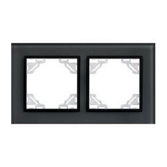 Минск Рамка 2-местная стеклянная черная EKF Basic