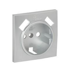 Валенсия лицевая панель розетки 1-местной с/з 16А сталь с защ. штор. с 2 USB 2