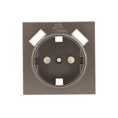 Валенсия лицевая панель розетки 1-местной с/з 16А графит с защ. штор. с 2 USB 2