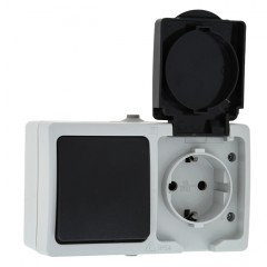 Блок розетка-выкл. 1-кл. 16А с/з с крышкой IP54 сер. с защ. штор. Венеция EKF PROxima