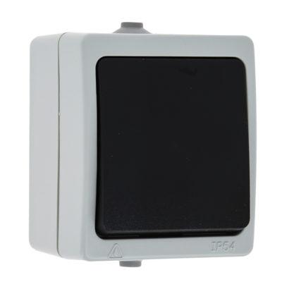 Венеция Выключатель 1 -клавишный 10А IP54 серый EKF; EVV10-021-30-54