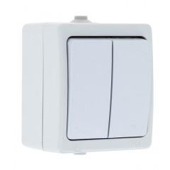 Венеция Выключатель 2-клавишный 10А IP54 белый EKF