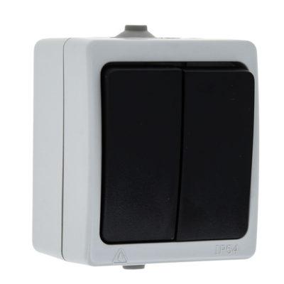 Венеция Выключатель 2-клавишный 10А IP54 серый EKF; EVV10-023-30-54