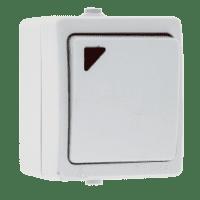 Венеция Выключатель 1 -клавишный с индикатором 10А IP54 белый EKF