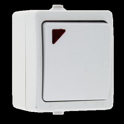 Венеция Выключатель 1 -клавишный с индикатором 10А IP54 белый EKF; EVV10-121-10-54