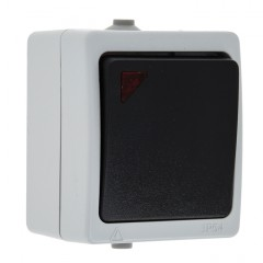 Венеция Выключатель 1 -клавишный с индикатором 10А IP54 серый EKF