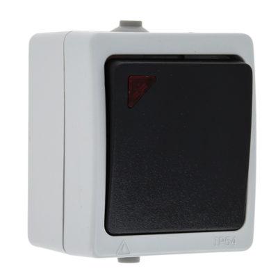 Венеция Выключатель 1 -клавишный с индикатором 10А IP54 серый EKF; EVV10-121-30-54