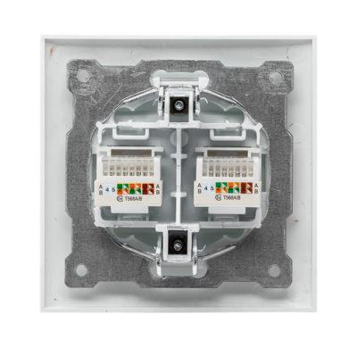Валенсия розетка компьютерная RJ-45 2-местная белая EKF PROxima; EWK02-035-10
