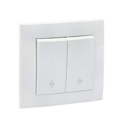 Валенсия выключатель 2-кл. 10А белый проходной EKF PROxima; EWV10-027-10