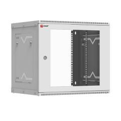 Шкаф телекоммуникационный настенный разборный 9U (600х450) дверь стекло