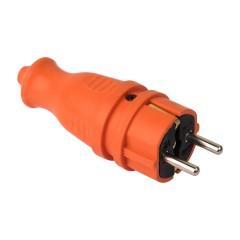 Вилка оранжевая каучуковая прямая 230В 2P+PE 16A IP44 EKF PRO
