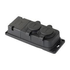 Роз. двухмест. с защит. крышками каучуковая 230В 2P+PE 16A IP44 EKF PRO