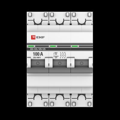 Выключатель нагрузки 3P 100А ВН-125 EKF PROxima; SL125-3-100-pro