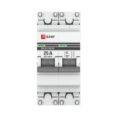 Выключатель нагрузки 2P  25А ВН-63 EKF PROxima; SL63-2-25-pro