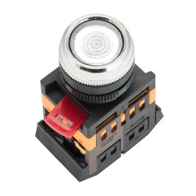 Кнопка ABLFS-22 с подсветкой белый NO+NC 230В EKF PROxima; ablfs-22-w