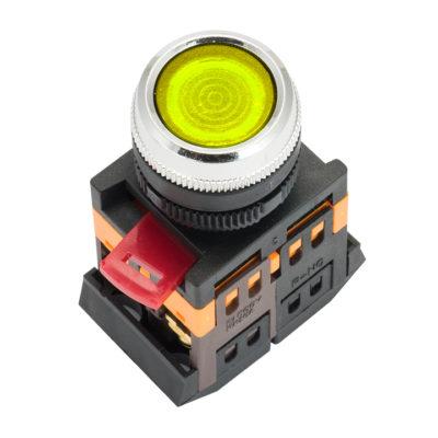 Кнопка ABLFS-22 с подсветкой желтая NO+NC 230В EKF PROxima; ablfs-22-y