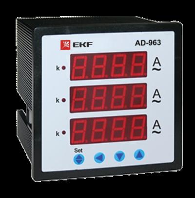 Амперметр AD-963 цифровой на панель (96х96) трехфазный EKF  PROxima ; ad-963