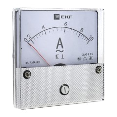 Амперметр AMA-801 аналоговый на панель (80х80) круглый вырез 10А прямое подключение EKF