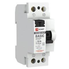 Устройство защитного отключения УЗО 2P 32А/30мА (электронное) EKF Basic