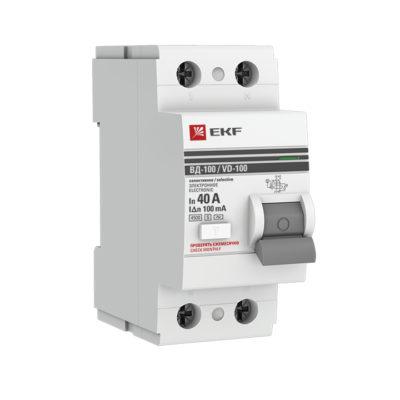 Устройство защитного отключения УЗО ВД-100 селективное 2P 40А/100мА (электронное) EKF PROxima