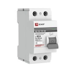 Устройство защитного отключения УЗО ВД-100 2P  40А/300мА (электромеханическое) EKF PROxima