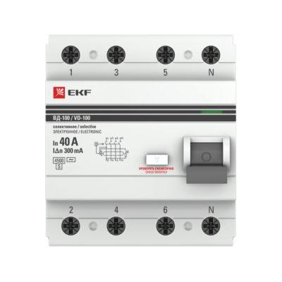Устройство защитного отключения УЗО ВД-100 селективное 2P 40А/300мА (электронное) EKF PROxima