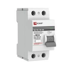 Устройство защитного отключения селективное 2P  80А/100мА (электромеханическое) EKF PROxima