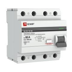 Устройство защитного отключения селективное 4P  80А/100мА (электромеханическое) EKF PROxima
