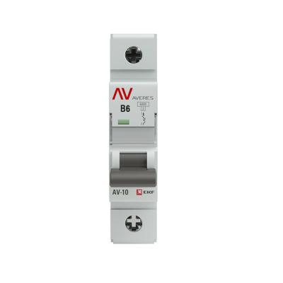 Выключатель автоматический AV-10 1P  6A (B) 10kA EKF AVERES; mcb10-1-06B-av