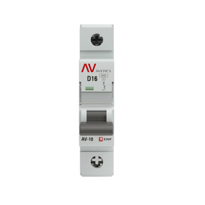 Выключатель автоматический AV-10 1P 16A (D) 10kA EKF AVERES; mcb10-1-16D-av