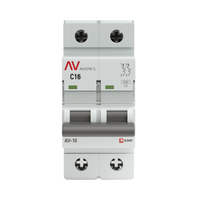 Выключатель автоматический AV-10 2P 16A (C) 10kA EKF AVERES; mcb10-2-16C-av