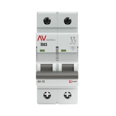 Выключатель автоматический AV-10 2P 63A (B) 10kA EKF AVERES; mcb10-2-63B-av