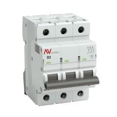Выключатель автоматический AV-10 3P  2A (D) 10kA EKF AVERES