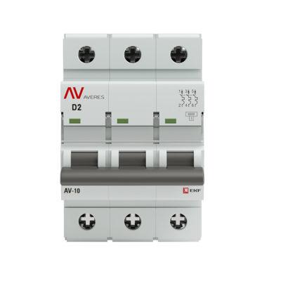 Выключатель автоматический AV-10 3P  2A (D) 10kA EKF AVERES; mcb10-3-02D-av