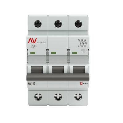 Выключатель автоматический AV-10 3P  6A (C) 10kA EKF AVERES; mcb10-3-06C-av