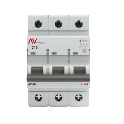 Выключатель автоматический AV-10 3P 16A (C) 10kA EKF AVERES; mcb10-3-16C-av