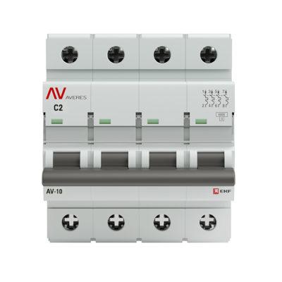 Выключатель автоматический AV-10 4P  2A (C) 10kA EKF AVERES; mcb10-4-02C-av