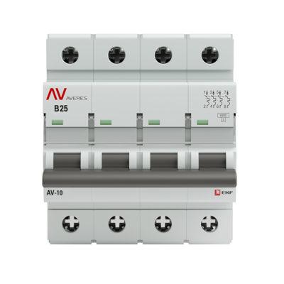Выключатель автоматический AV-10 4P 25A (B) 10kA EKF AVERES; mcb10-4-25B-av
