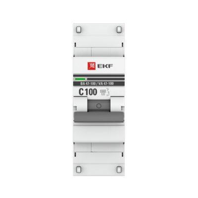 Автоматический выключатель 1P 100А (C) 10kA ВА 47-100 EKF PROxima; mcb47100-1-100C-pro