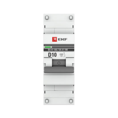 Автоматический выключатель 1P  10А (D) 10kA ВА 47-100 EKF PROxima; mcb47100-1-10D-pro