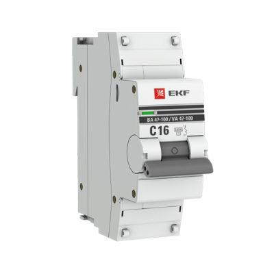 Автоматический выключатель 1P  16А (C) 10kA ВА 47-100 EKF PROxima; mcb47100-1-16C-pro