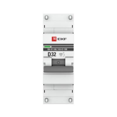 Автоматический выключатель 1P  32А (D) 10kA ВА 47-100 EKF PROxima; mcb47100-1-32D-pro