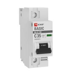 Автоматический выключатель 1P  35А (C) 10kA ВА 47-100 EKF Basic